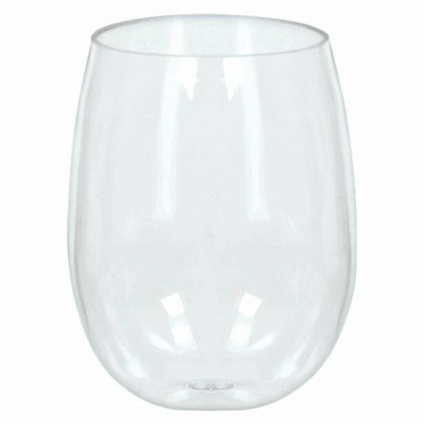 Clear Plastic Stemless Wine Glasses - 354ml